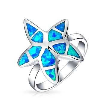 Blue Created Opal Inlay Starfish Ring 925 Sterling Silver