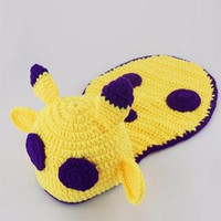 Purple And Yellow Monster Knit Hat Outfit - CCA70