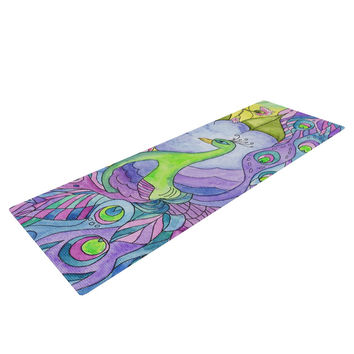 "Catherine Holcombe ""Stained Glass Watercolor Peacock"" Purple Green Yoga Mat"