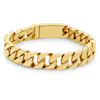 """Mens 9"""" Gold 316L Stainless Steel 12mm Cuban Curb Link Chain Bracelet"""