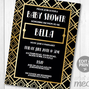 Baby Shower Invitation 1920s Invites INSTANT DOWNLOAD It's A Girl Boy Gold Art Deco Gatsby Invitations Party Personalize Editable Printable