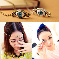 Evil Eye Pendant Necklace Choker Chain Gold / Silver Plated Angel Tear Drop