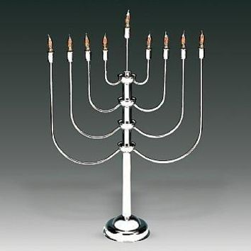Highly Polished Chrome Plated 27quot;H Electric Menorah With Flickering Bulbs To Simulate Real Candles