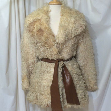 Vintage 1960s 70s Fur Coat white Stroller Curly Mongolian lamb fur coat Hippie Boho Glam Rocker Fantastique Dress coat
