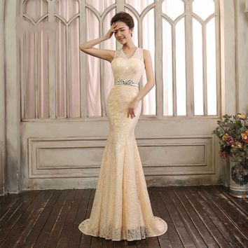 Mermaid Evening Dress Open Back V Neck Lace Formal Evening Dresses
