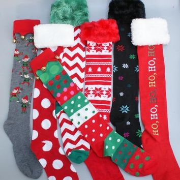 New women Knee High Socks Christmas Girls long sock warm preppy festival red snow man cosplay