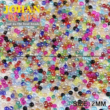 JHNBY Flat Round Shape Upscale Austrian crystals 2mm 200pcs loose beads color ball supply bracelet necklace Jewelry Making DIY