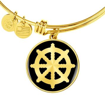 Dharma Wheel v2 - 18k Gold Finished Bangle Bracelet