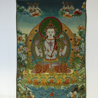 Avalokiteshvara on Sky Blue Background