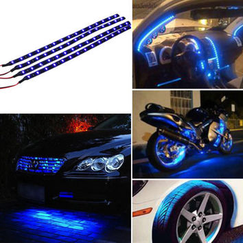 Car Light Blue 4pcs 30CM 15 LED Car Auto Motorcycle Truck Flexible Strip Light Lamp Waterproof 12V For Car outdoor and indoor