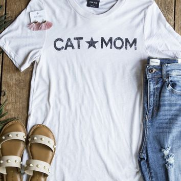 Cat Mom Tee, Clay