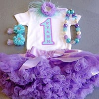 Lavender and Aqua 1st Birthday Outfit, Includes: Bodysuit w/Name & Number, Headband, Sandals, Chunky Necklace and Poofy Skirt, Girl Birthday