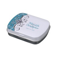 Teal Blue Glitter Jewel Wedding Candy Favor Tin