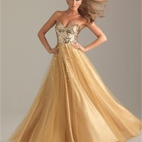 A-line Sweetheart Strapless Sequin Champagne Floor-length Prom Dress PD0451