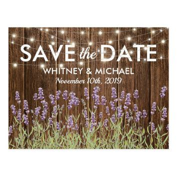 Rustic Country Lavender Lights Save the Date Postcard