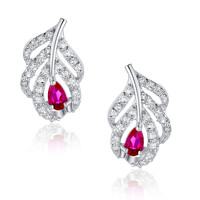 Peacock Feather W. Pink Teardrop and Clear Round Cubic Zirconia Stud Earrings