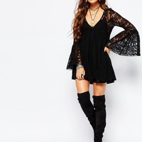 Free People With Love From India Lace Dress With Bell Sleeves in Black at asos.com