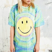 Smiley Acid Tie Dye Tee in Green - Urban Outfitters