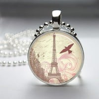 Eiffel Tower Glass Tile Bezel Pendant Necklace