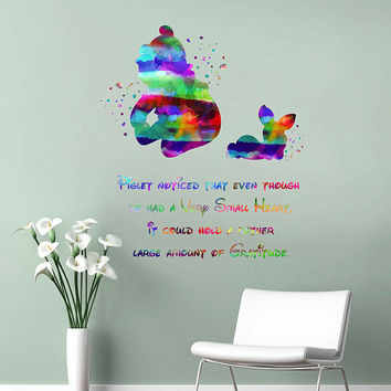 kcik2066 Full Color Wall decal Watercolor Character Disney Winnie the Pooh Piglet quote Sticker Disney children's room