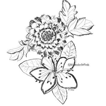 Pen and ink floral print, Original Floral sketch, ink flowers, Black and white, pen and ink flowers, flower drawing