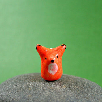 Little Orange Fox  Hand Sculpted Miniature by MadeWithClayAndLove