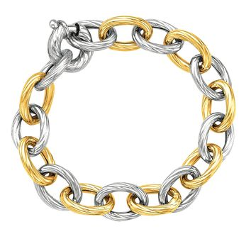 """18k Yellow Gold And Sterling Silver Oval Link Bracelet, 7.75"""""""