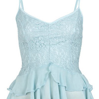 Lace Tier Cami Top - Tops  - Apparel