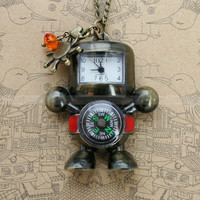 Vintage pocket watch necklace with antique bronze robot pendant and a compass , sun charm, crystal charm