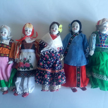 International Dolls Porcelain Head From Spain Hungary, Italy, China, Switzerland