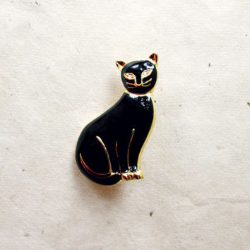 Black Cat Brooch. Gold Plated Vintage Cat Pin with Diamond Rhinestone Eyes. Whimsical Feline Brooch. Unique Gifts for Cat and Kitten Lovers,