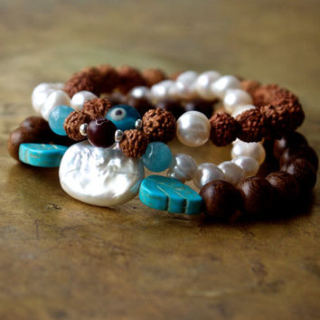 Yoga bracelet stack set of three Evil eye Meditation bracelet Rudraksha bracelet set Aquamarine pearl Blue and brown Spiritual jewellery