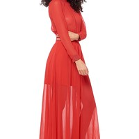 Good Time USA Mock Neck Chiffon Dress - Red from Goodtime USA at ShopRoxx.com