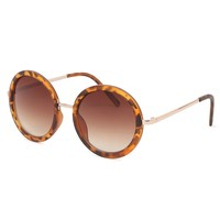 With Love From CA Retro Round Sunglasses - Womens Sunglasses - Brown - One