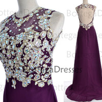 Purple Prom Dresses, 2014 Prom Gown, Straps Crystal Long Lace/Chiffon Purple Prom Dresses Wedding Party Dresses, Long Prom Gown, Formal Gown