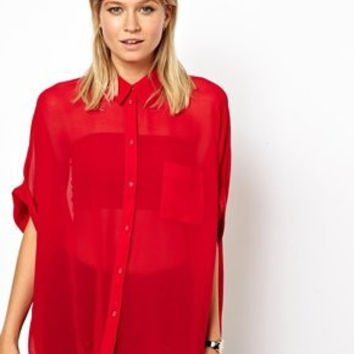 Summer Women's Fashion Batwing Sleeve Blouse [6516369287]