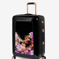 Medium cascading floral suitcase - Black | Bags | Ted Baker ROW