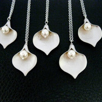 5 CALLA Necklaces Sterling Silver BRIDESMAID GIFTs, Bridesma - Vivian Feiler Designs | Wedding