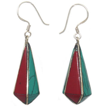 Turquoise Coral Lapis drop earring