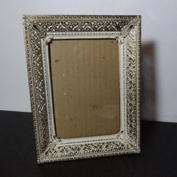 Vintage 5 x 7 Brass or Gold Tone Metal Filigree Dimensional Picture Frame with White Washed Floral Design - Art Deco/Hollywood Regency