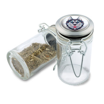 Glass Jar - Native Wolf- 75ml Herb and Spice Storage Container