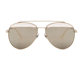 Oliver Peoples x Alain Mikli Aviator Sunglasses in Gold & Taupe Mirror | FWRD