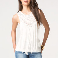 bebe Womens Fringed Sweater Top