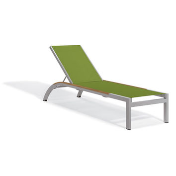 Oxford Garden Argento Armless Chaise Lounge Powder Coated Aluminum Frame Go Green