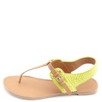 Basket-Weave T-Strap Thong Sandals by Charlotte Russe - Lime