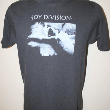80's Joy Division Love Will Tear Us Apart RARE Vintage Classic Post Punk Rock Band Promo T-Shirt
