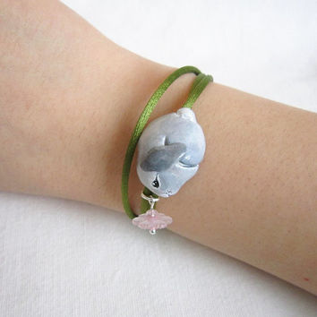 Baby Bunny Bracelet, Wrap bracelet with polymer clay rabbit bead