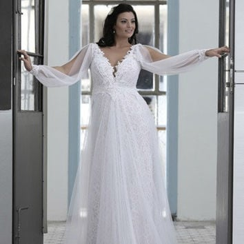 PS - Empire waist plus size wedding dress with long sleeve