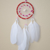 Car Accessories for Girls, Small Dreamcatcher, Rear View Mirror Charm, Red and White Dream catcher Decor
