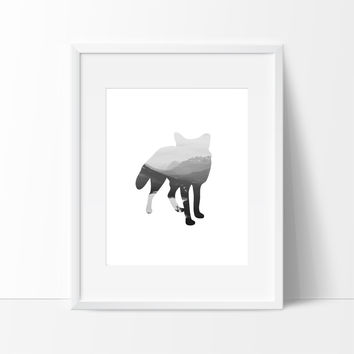 Wild Fox in Mountatins Wall Art, Wall Decor Ideas